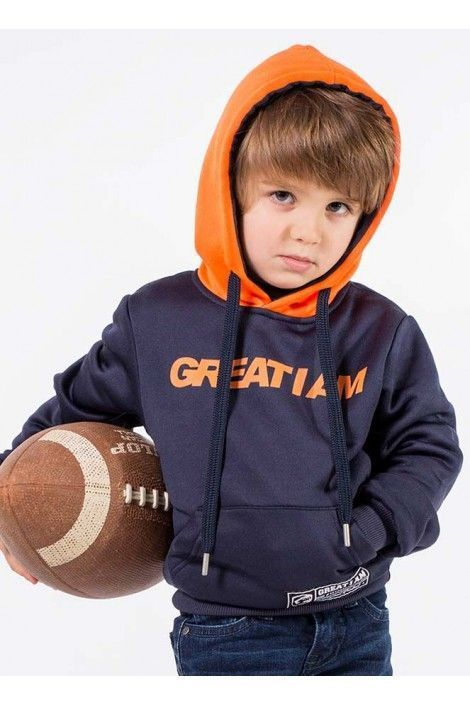 Hoodie Navy Orange Junior